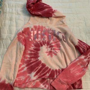 Justice girls hooded tie dye sweatshirt.